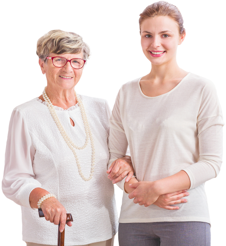 woman smiling along with a senior woman