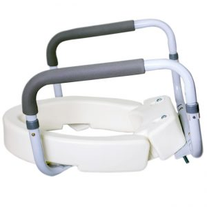 Foldable Hinged Raised Toilet Seat with Safety Rail