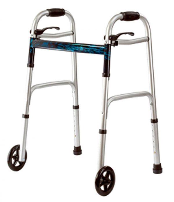 """Deluxe Junior Folding Walker w/5"""" Wheels"""
